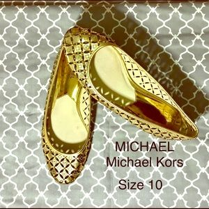 Michael Kors Gabriella Cut Out Gold Leather Flats